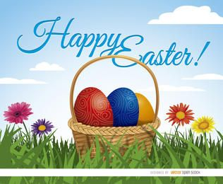 Canasta de huevos de Pascua sobre fondo de hierba