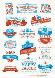 15 etiquetas de Pascua y cintas