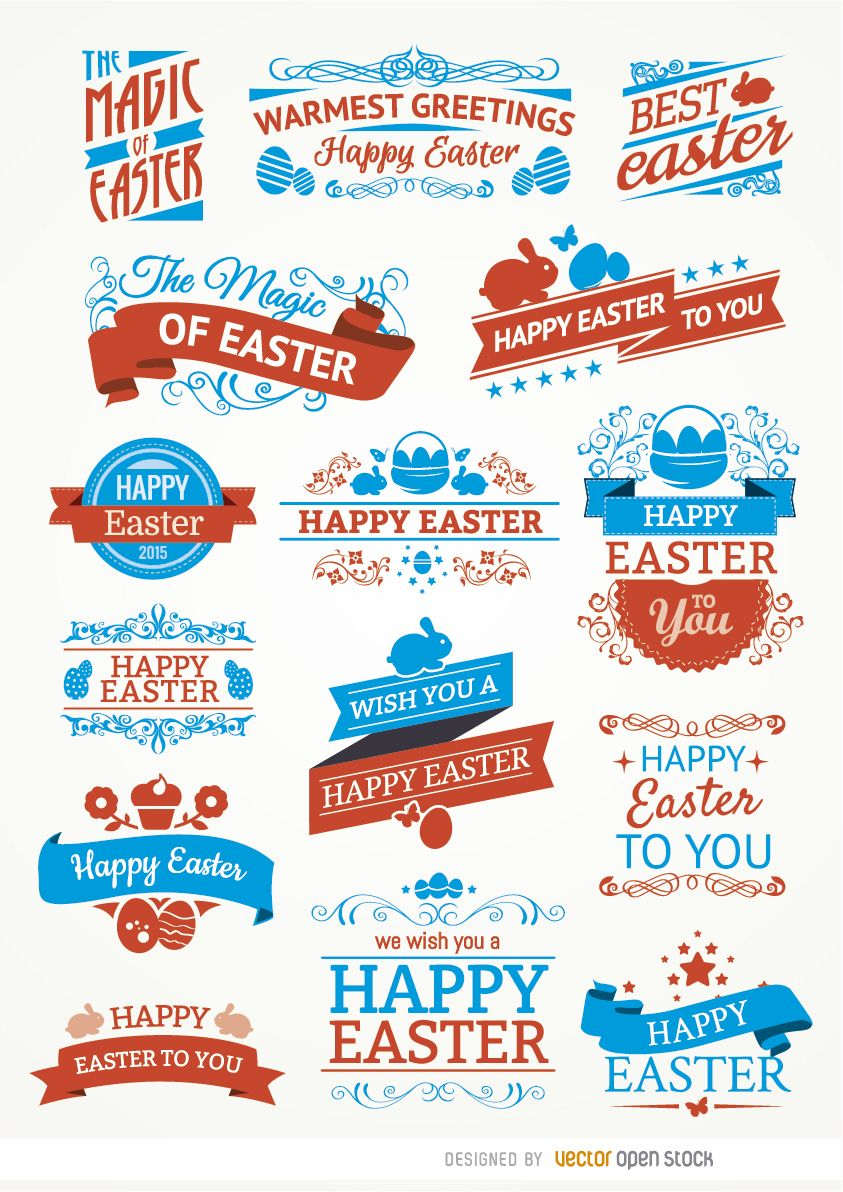 15 Easter labels and ribbons