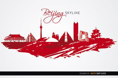 Beijing landmarks painted red