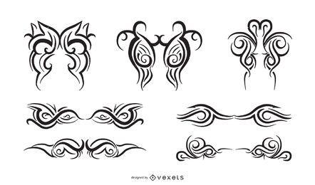 Conjunto de adornos tribales y telas a rayas creativas