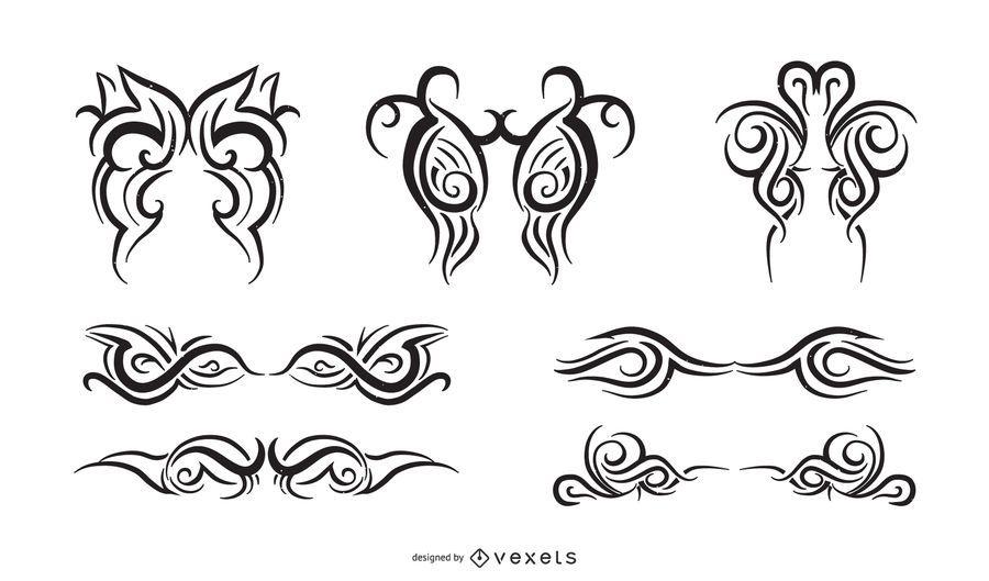 Conjunto de adornos a rayas y tribales creativos