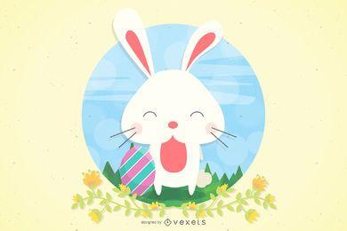 Conejito de Pascua con huevo y hierbas