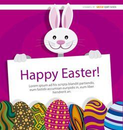 Easter bunny eggs placard