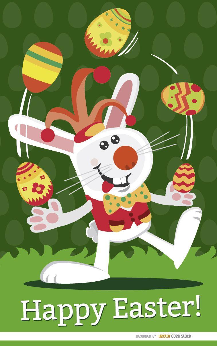 Easter Jester rabbit juggling