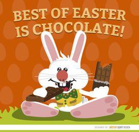 Fondo de pantalla de conejito de Pascua comiendo chocolate