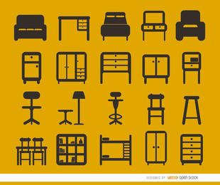 Conjunto de 20 iconos planos de muebles.