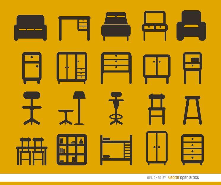 Conjunto de 20 iconos planos de muebles