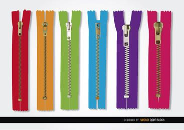 6 Colors zippers