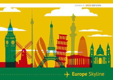 Europe monuments skyline