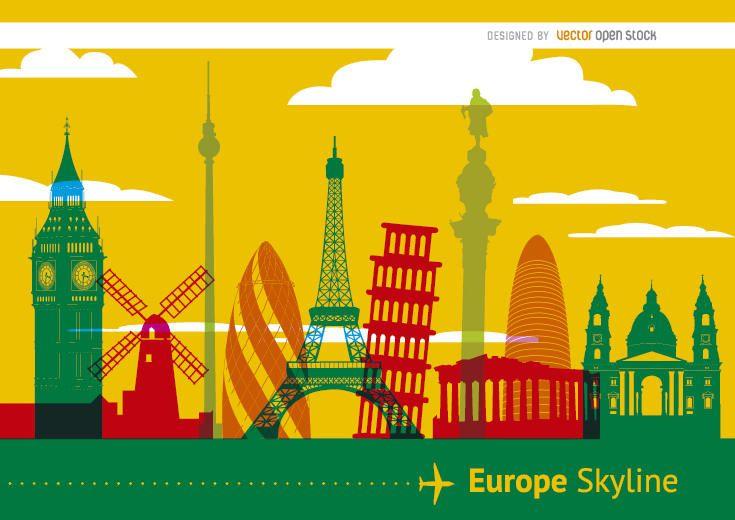 Skyline de monumentos da Europa