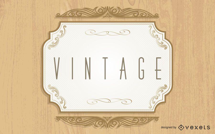 Fondo Madera Creativa Etiqueta Vintage