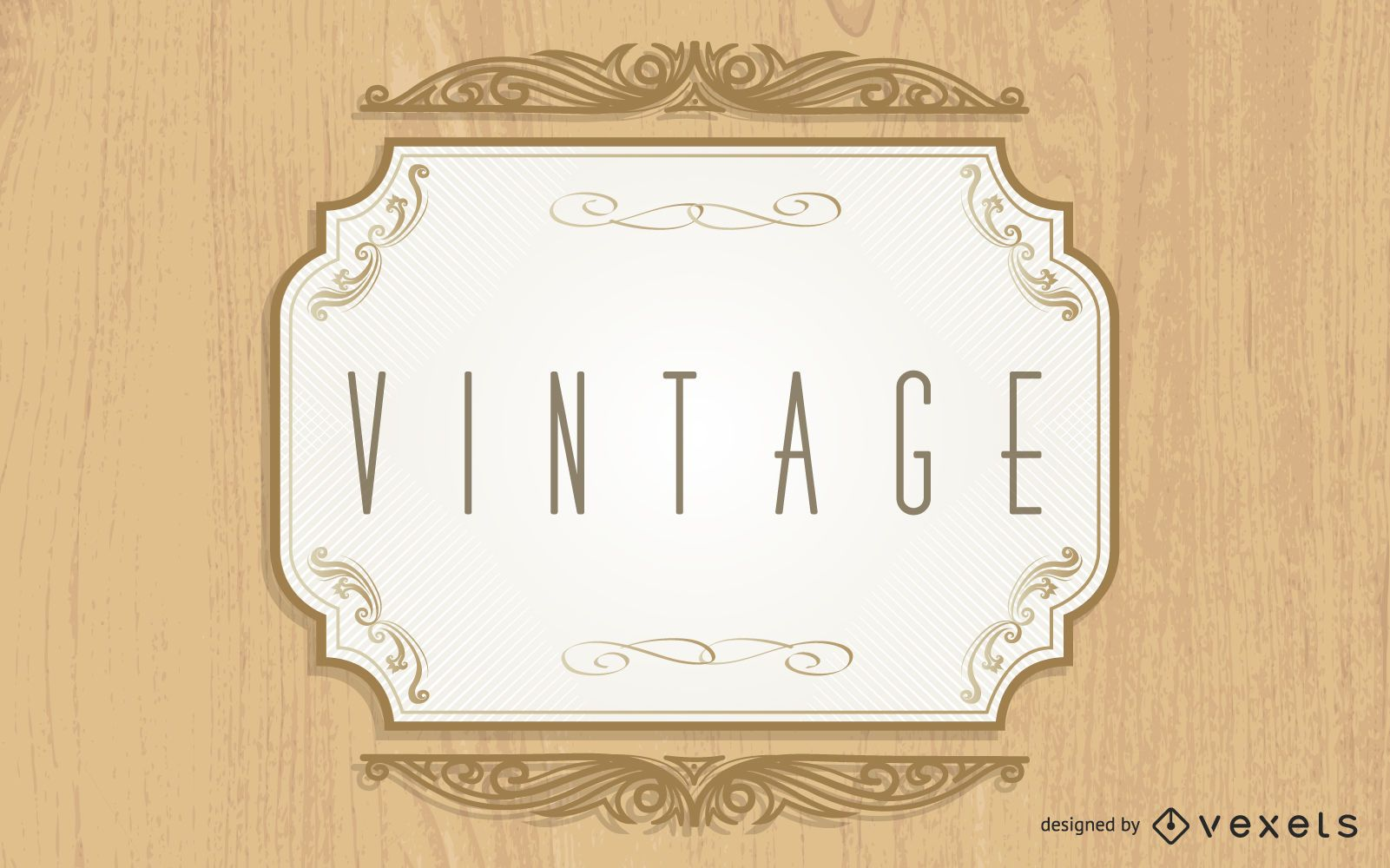 Creative Vintage Label Wooden Background
