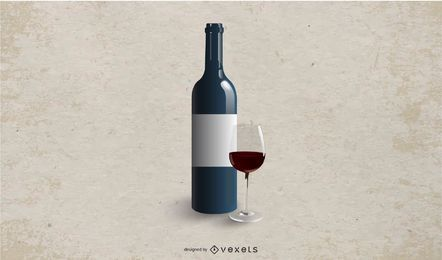 Maqueta de botella de vino con etiqueta blanca