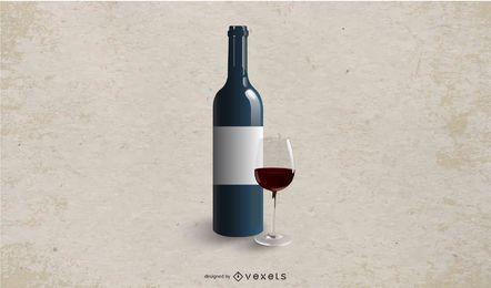 Mockup de garrafa de vinho branco rotulado