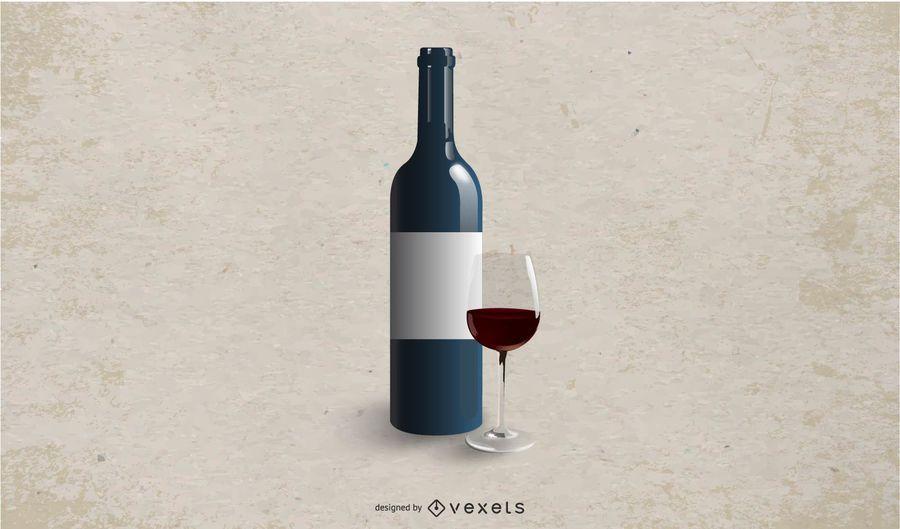White Labeled Wine Bottle Mockup