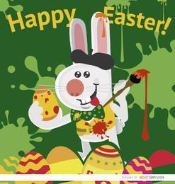 Conejo de pascua artista pintando huevos