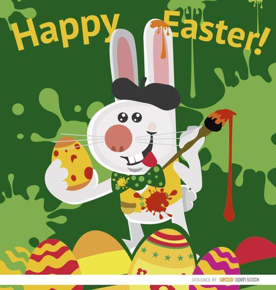 Pascua conejo artista pintando huevos