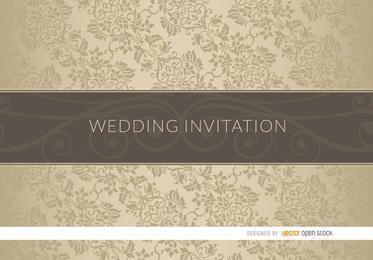 Manga elegante floral de la invitación de la boda