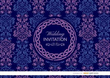 Invitación floral céltica azul púrpura de la boda