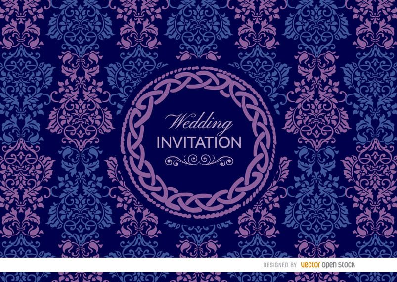 Purple blue Celtic floral wedding invitation