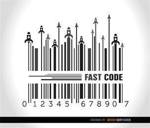 Foguetes lançamento fundo de código de barras