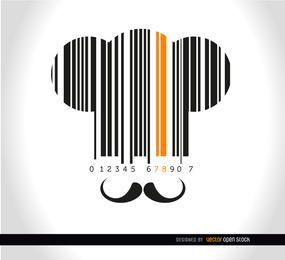 Sombrero del cocinero fondo Codebar bigote