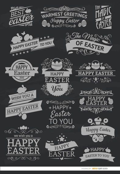 15 emblemas de giz da Páscoa