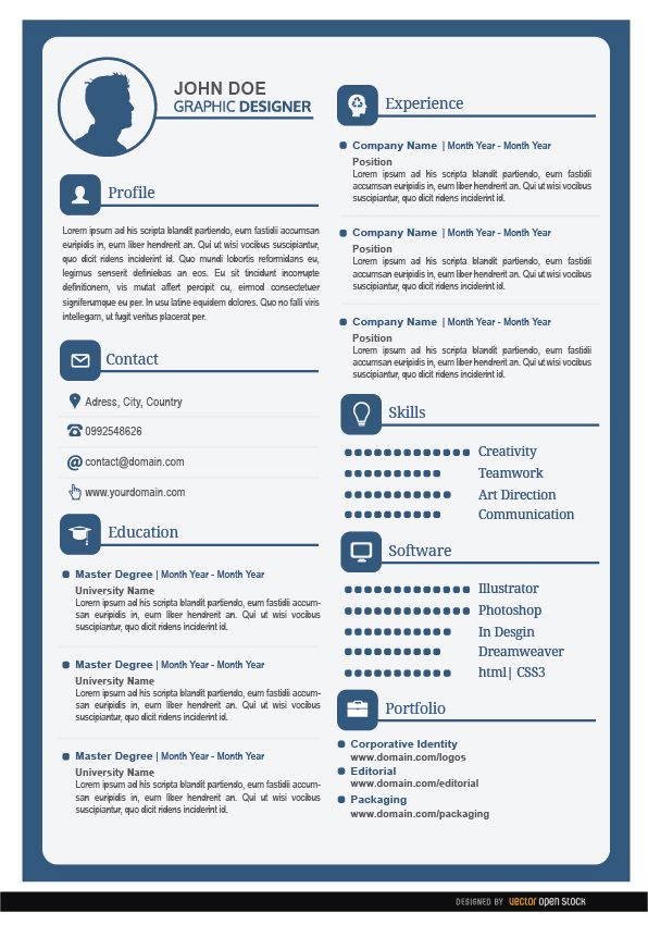Male Resume Editable Text Fields Vector Download