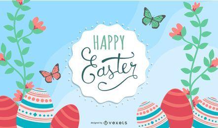Bunte helle Ostern-Einladung