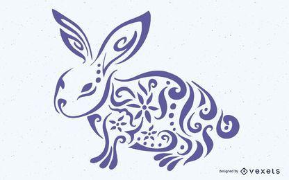 Conejo decorativo floral formado Pascua