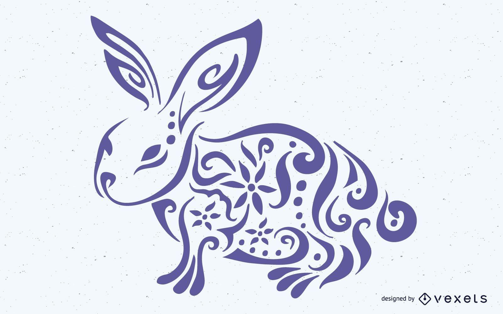 Decorative Floral Formed Bunny Easter