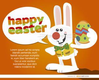 Conejito con huevo diciendo feliz pascua
