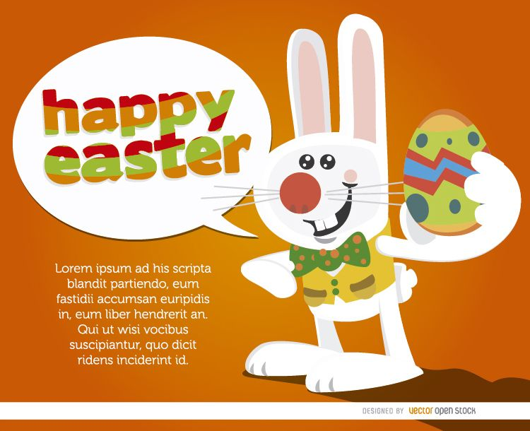 Bunny with egg saying Happy Easter