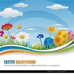 Huevos de Pascua Flores ondulado fondo
