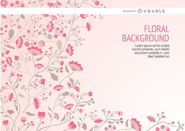 Fundo floral rosa com hastes longas