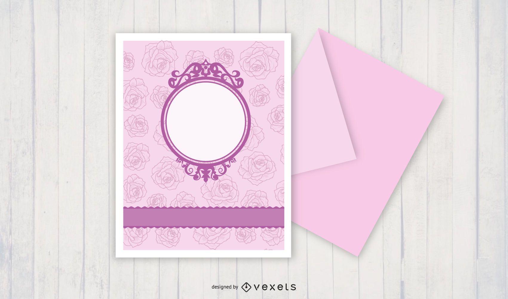 Round Frame Pink Floral Card