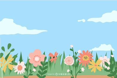 Floral Daisy Footer Colorful Background