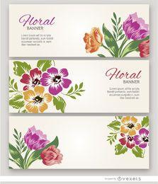3 banderas de flores pintadas