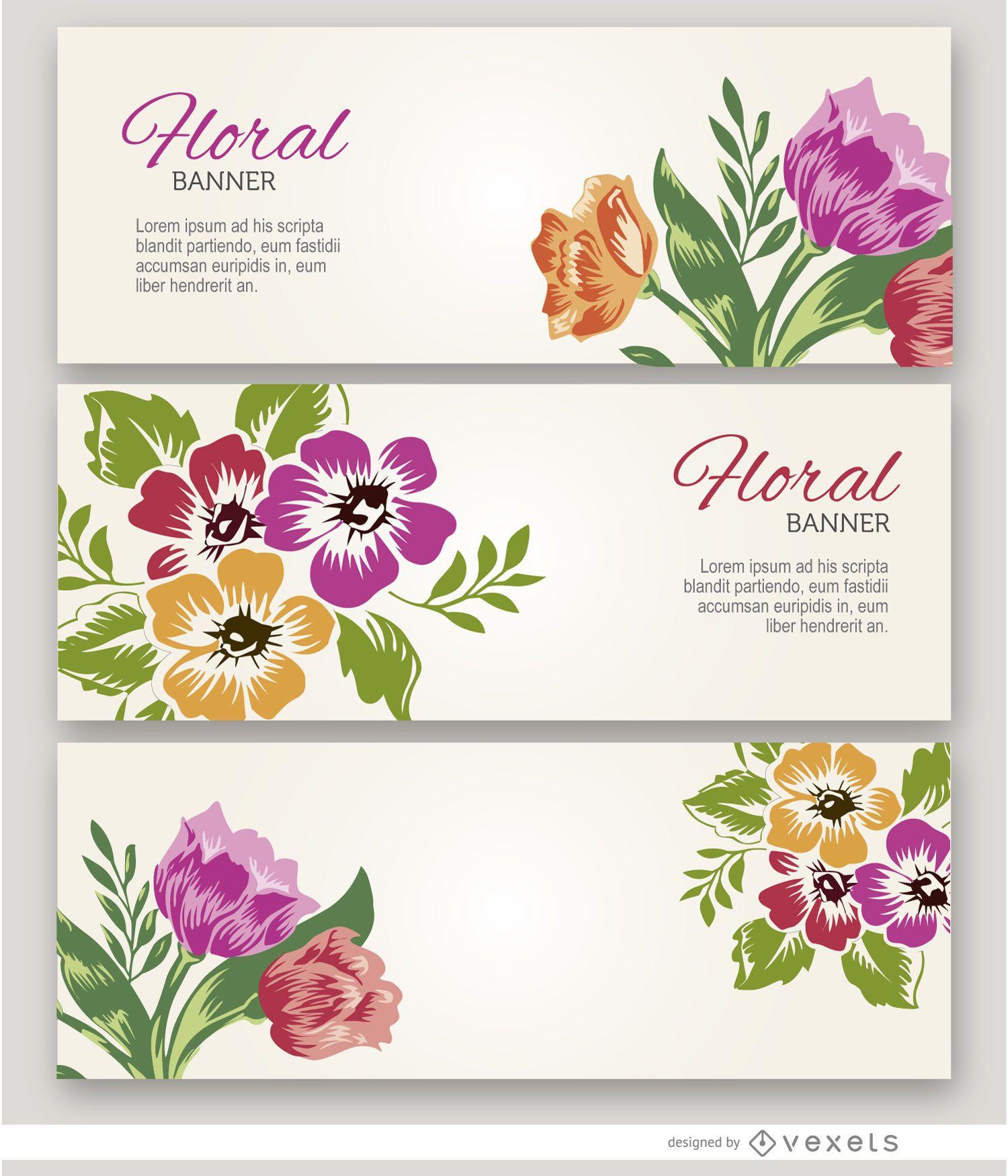 3 pancartas de flores pintadas
