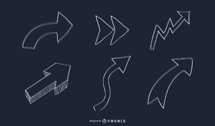 Abstract Hand Drawn Arrow Set