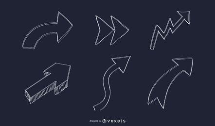 Conjunto de flechas dibujadas a mano abstracto