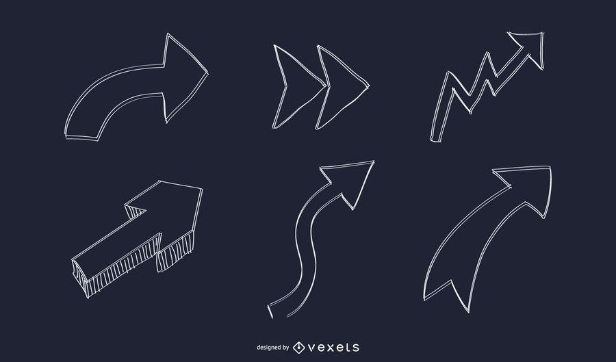 Conjunto de setas de mão abstrata desenhada