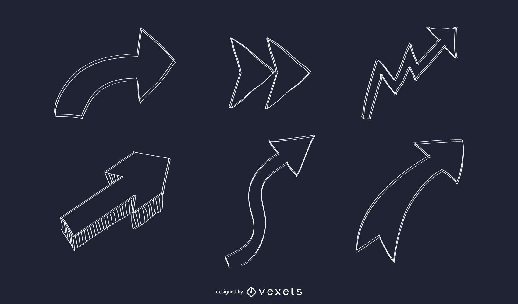 Abstract Hand Drawn Arrow Set