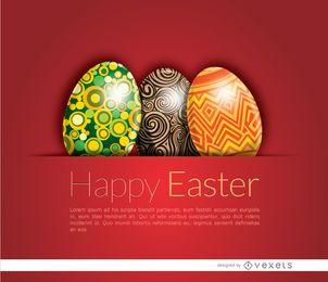 Brillante tarjeta de huevos de Pascua
