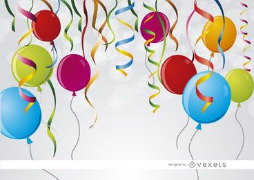 Party ribbons balloons background