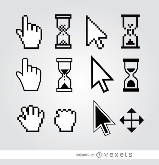 12 ampulheta de seta de mão de cursor