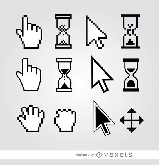 12 Cursor hand arrow hourglass