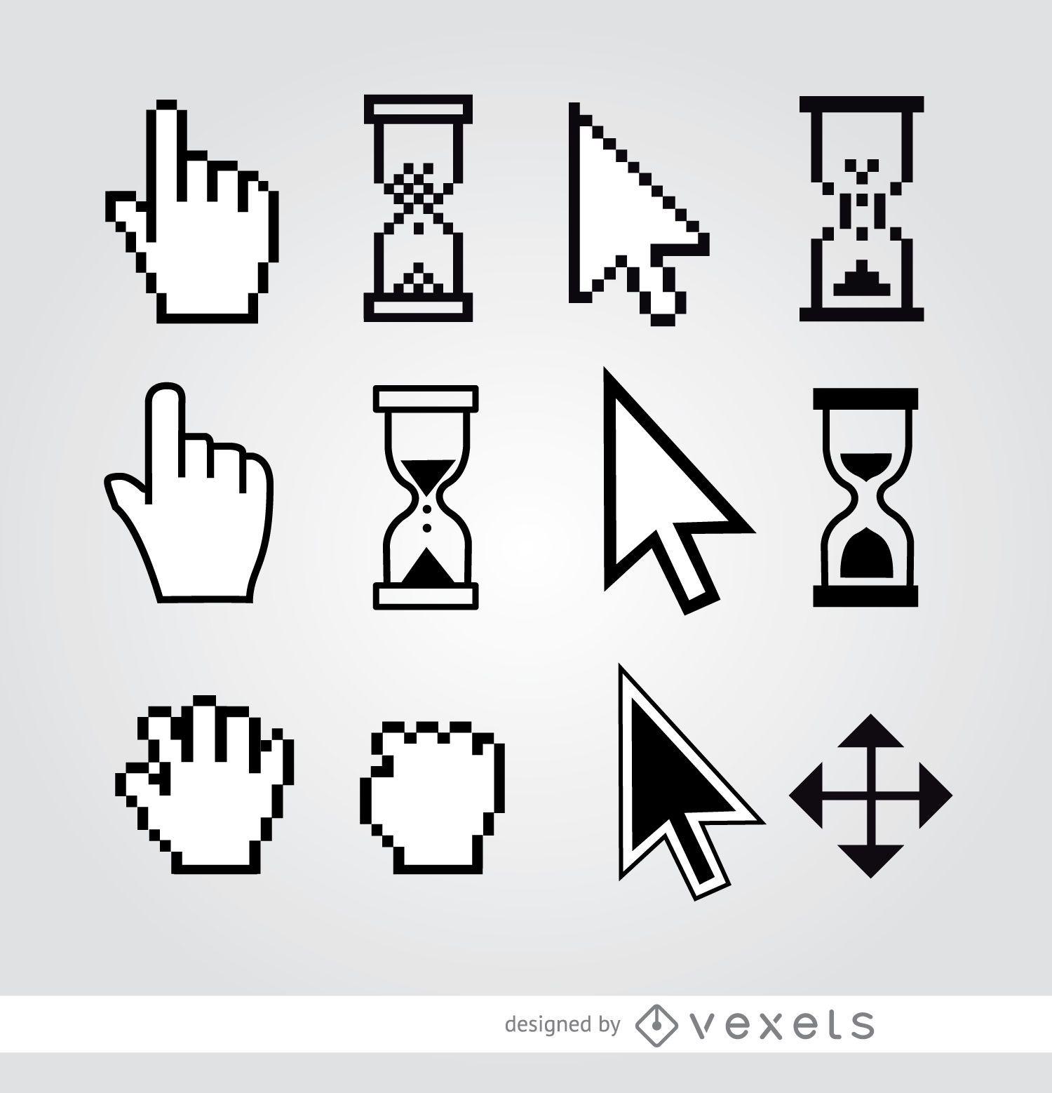 12 Cursor hand arrow hourglass