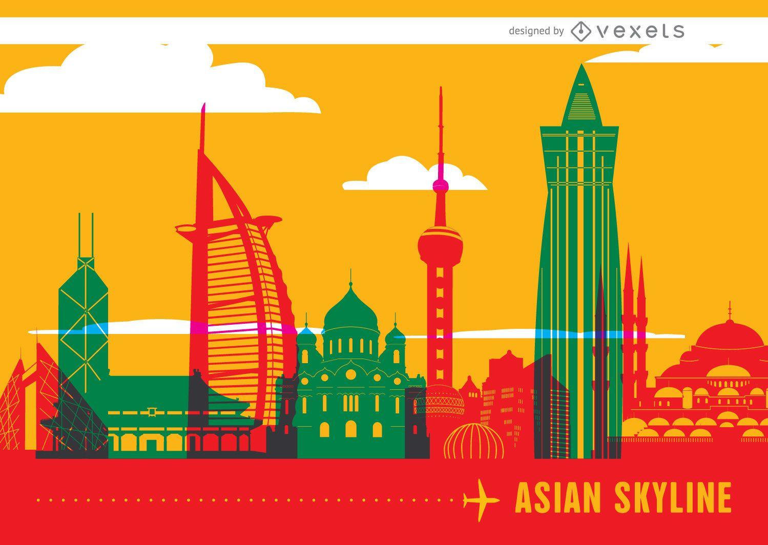 Asian skyline landmarks